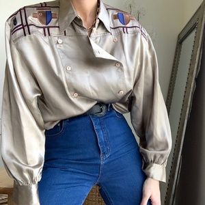 Vintage Silk Embroidered Puff Blouse Button Up